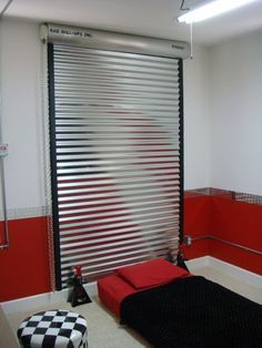 NEW Udates To Jetts Garage Themed Bedroom, A Fuax Shop Roll Up Door Was  Made To Act As A Headboard.