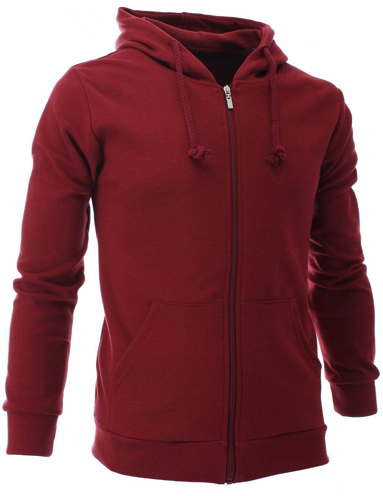 eb2573564 FLATSEVEN Mens Slim Zip Up Hoodie Collection (HZ01) Dark Red, M ...