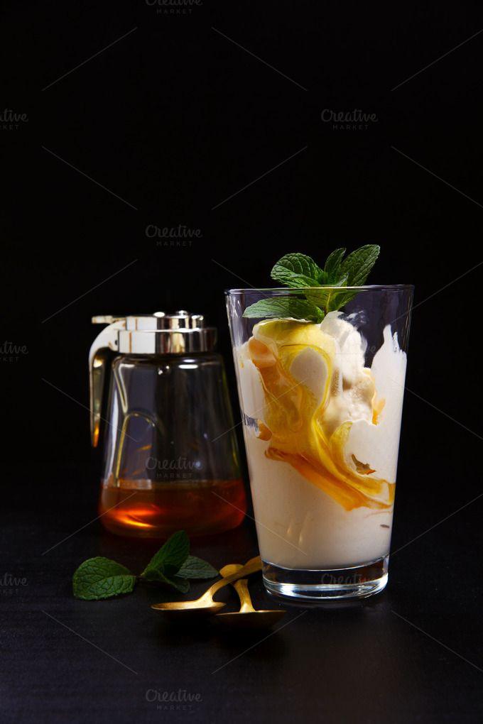 ice cream with honey by IriGri on @creativemarket