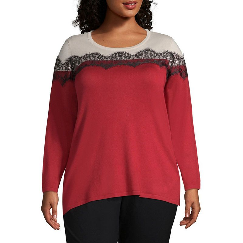 11e189b848 Worthington Long Sleeve Colorblock Lace Sweater - Plus