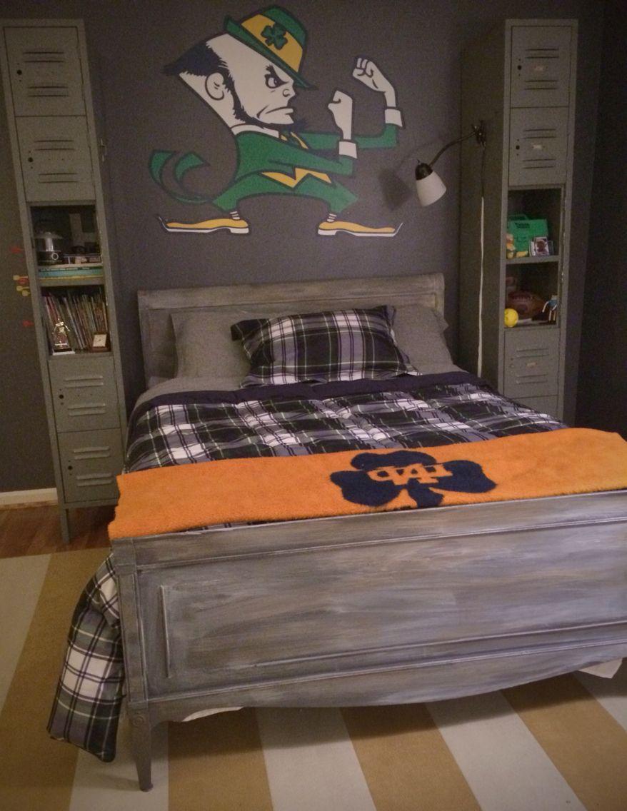Notre dame bathroom accessories - Vintage Lockers In Boys Bedroom Notre Dame Driftwood Painted Bed Https