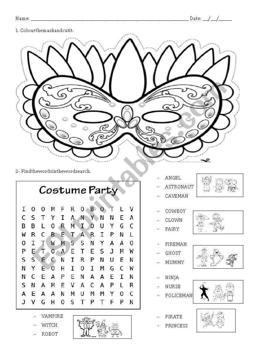 A simple and fun ws where ss colour a mardi gras mask, cut