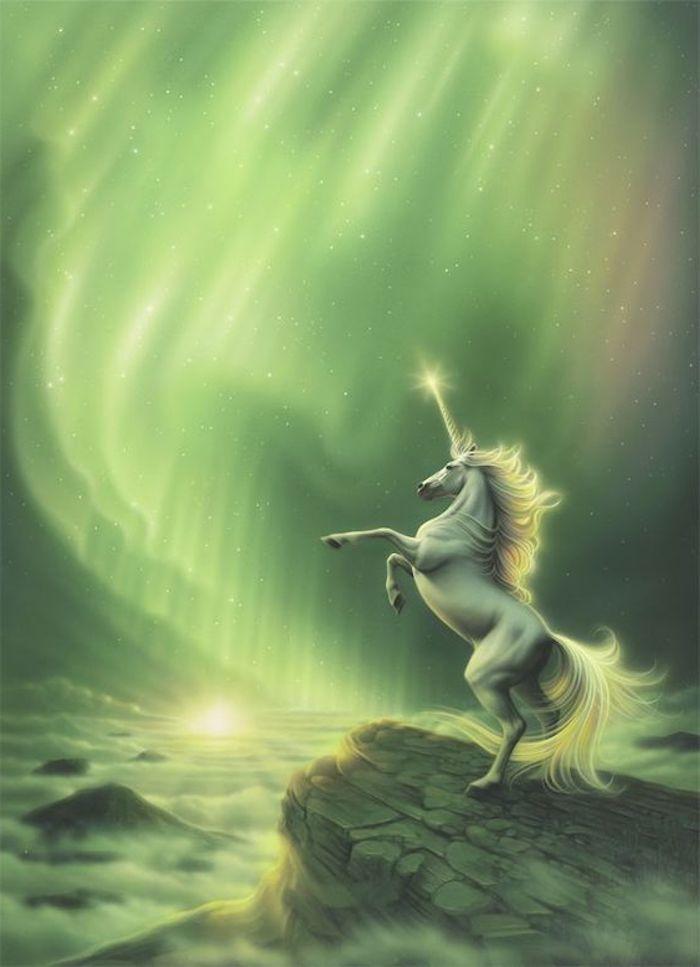 himmel mit sternen wolken  ein wildes weißes einhorn mit