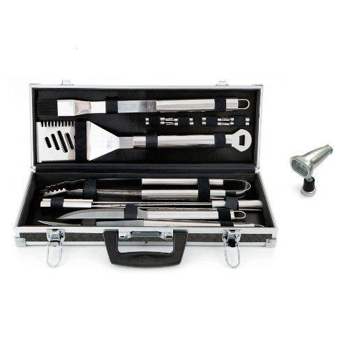 Mr Bar B Q 160173 18 Piece Platinum Prestige Stainless Steel Tool Set And