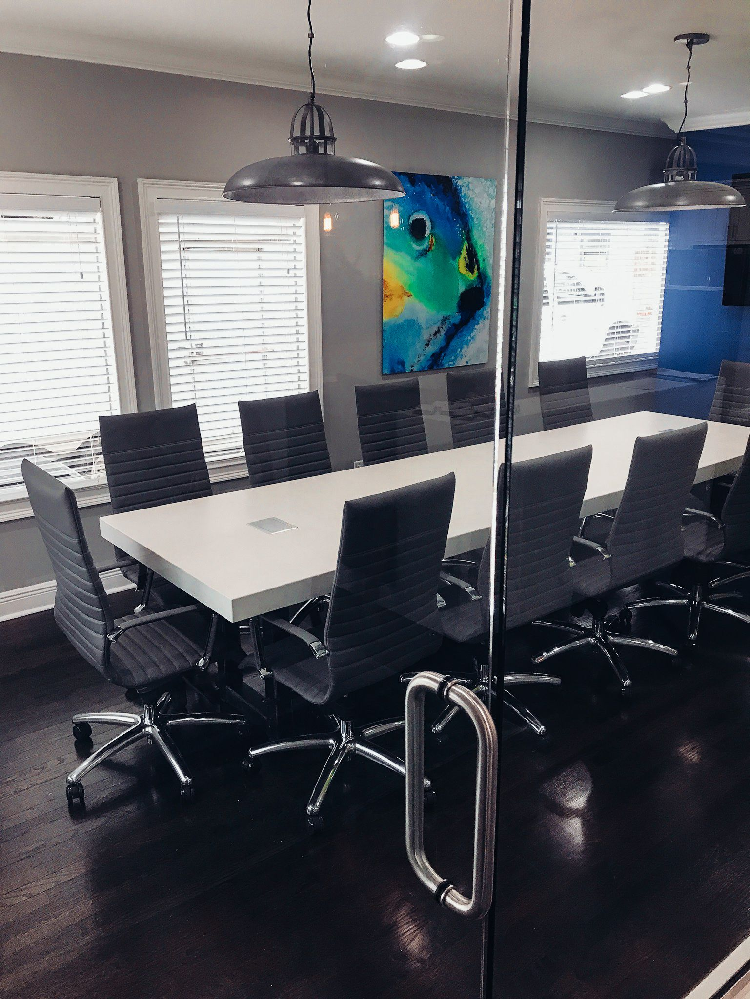 Custom concrete conference table with builtin charging