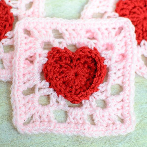Heart Granny Square Crochet Pattern   Patrones de crochet, Tejido y ...