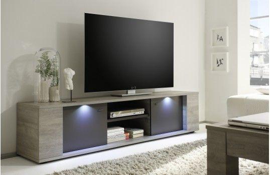 Meuble Tv Design 2 Portes Une Niche Collection Romano En Panneaux Particule Melamine De Qualite Tv Stand Decor Modern Tv Stand Tv Stand Designs