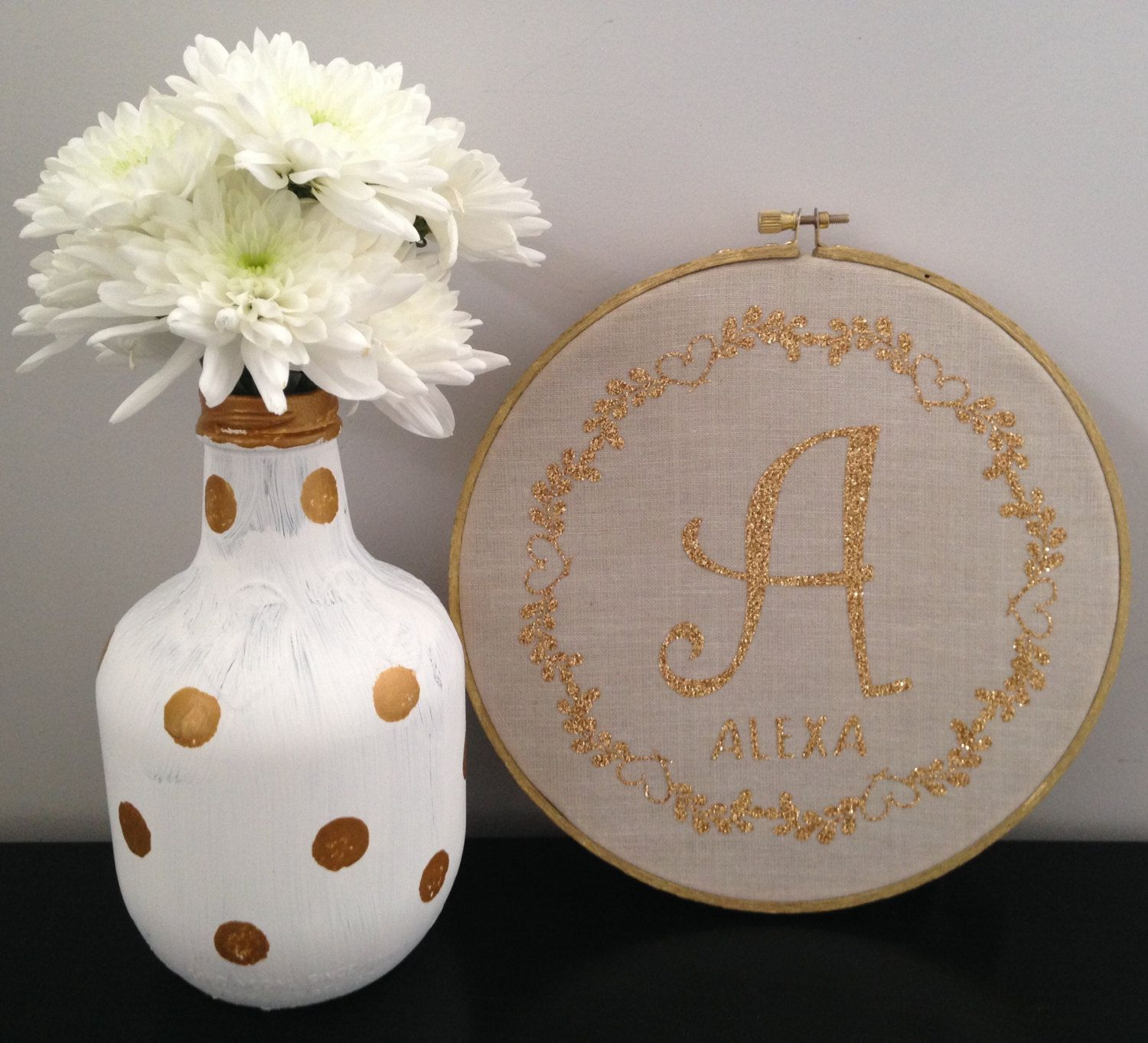 Personalized Fabric Hoop  Gold Glitter Letters  Wall Decor