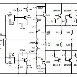 Circuit design of 1000W stereo audio amplifier using