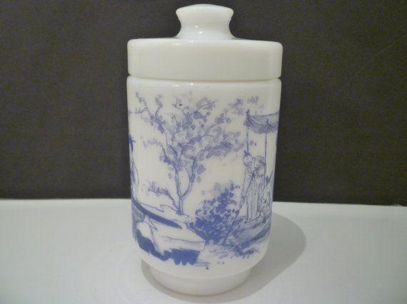 COVERED Blue & White MILKGLASS JAR. Vintage Jar. Made In