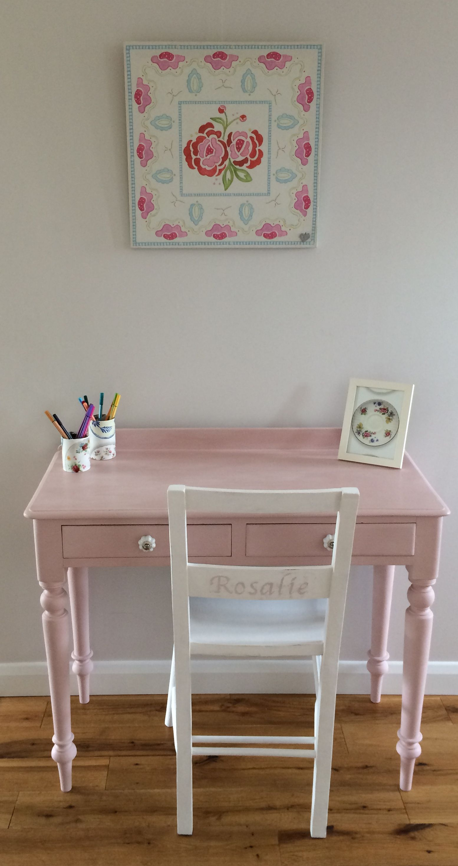Kids Furniture Girls Desk And Chair Hand Painted Love The