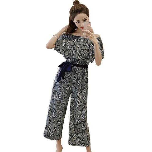 Fasbys Elegant Ruffle Dot Long Jumpsuit Romper Women Off Shoulder Loose Lotus Leaf Side Casual Fashion Summer 2017 Lace Overalls