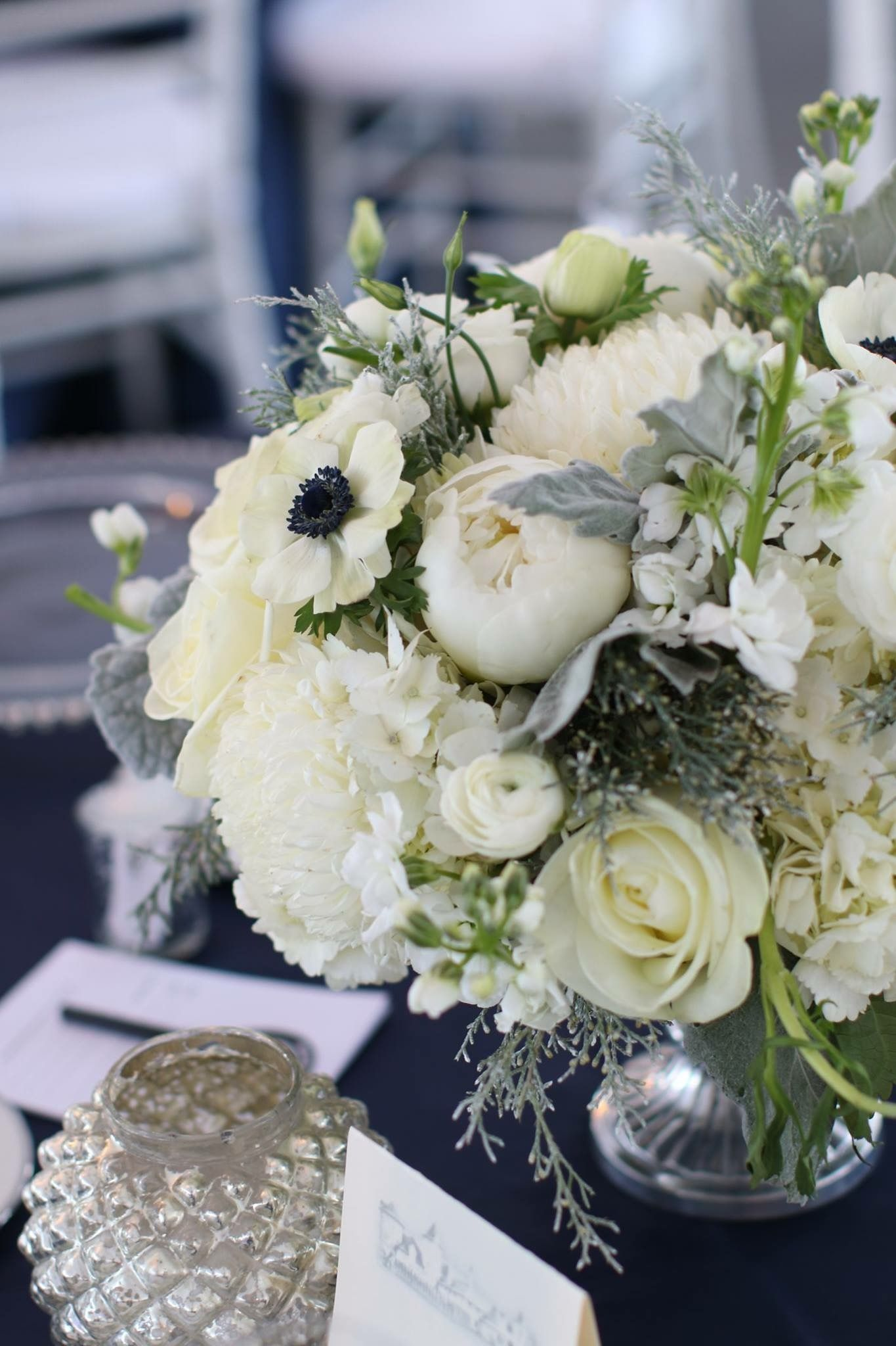 Floral Centerpiece With White Hydrangeas Winter Wedding At