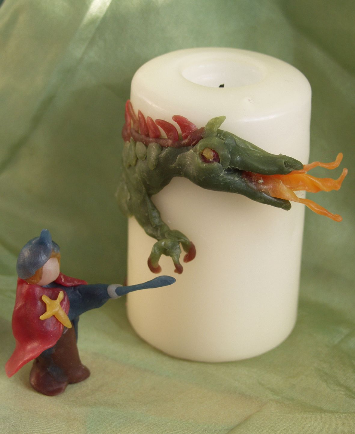 St Michael and Dragon figure and candle decorations made