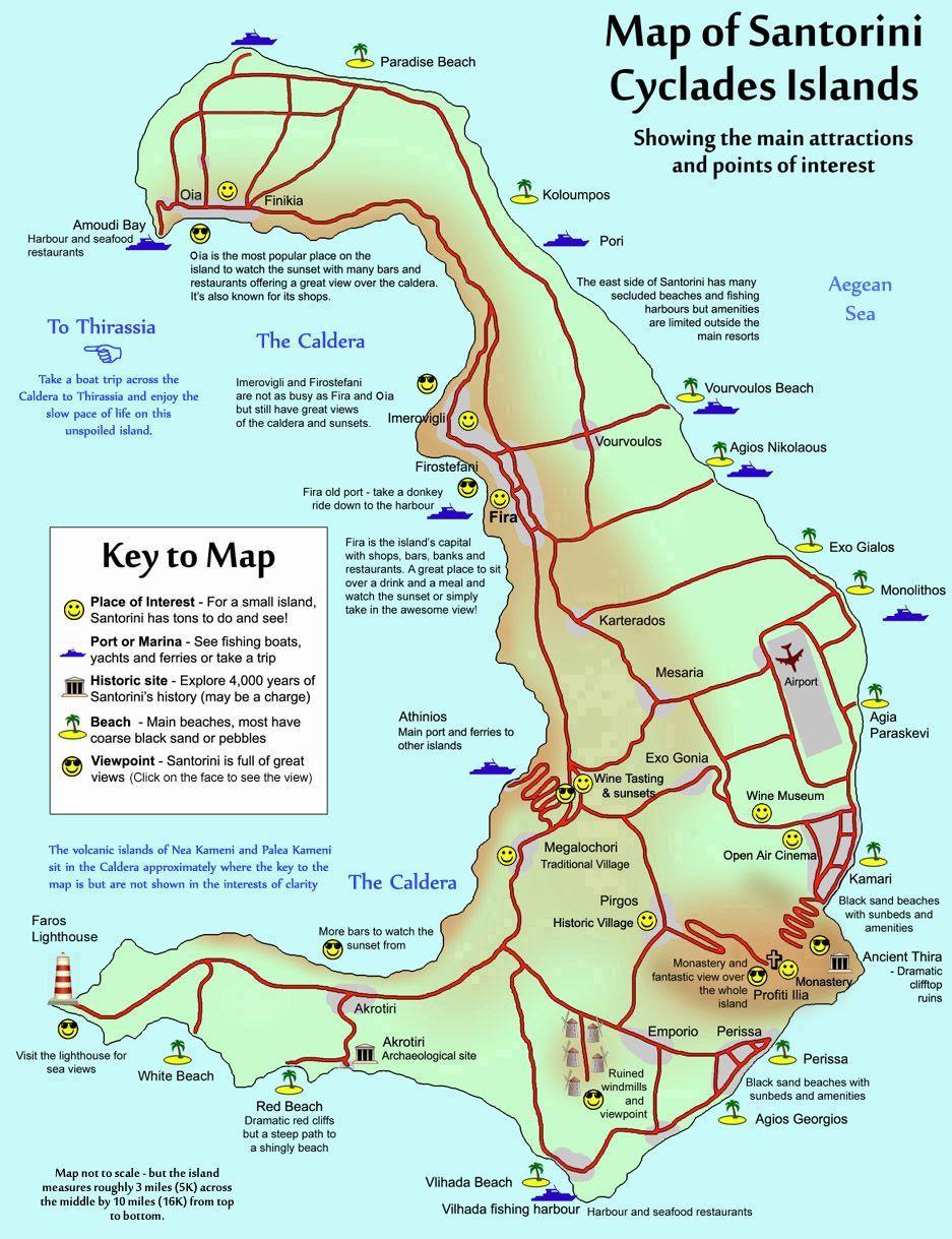 Map Of Santorini More Greecetravel Santorini Flitterwochen