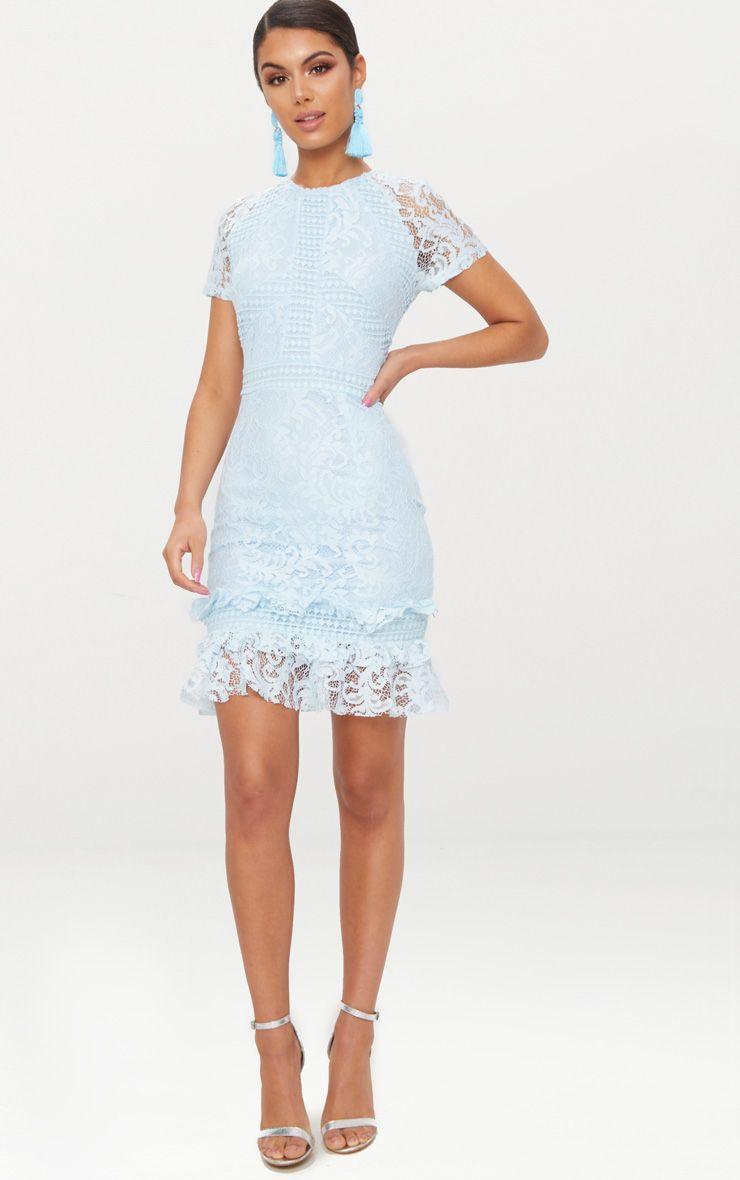 da9975b8f4f Dusty Blue Frill Hem Lace Bodycon Dress | Dream Closet in 2019 ...