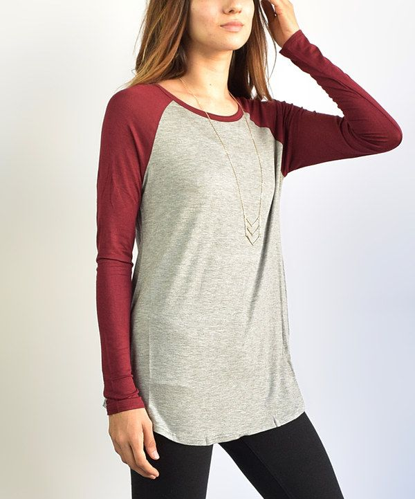Look at this éloges Burgundy & Gray Baseball Tunic on #zulily today!