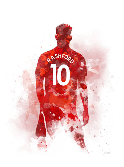 Marcus Rashford Art Print Manchester United Football Sport Gift Wall Art Home Decor Manchester United Wallpaper Manchester United Art Manchester United Football