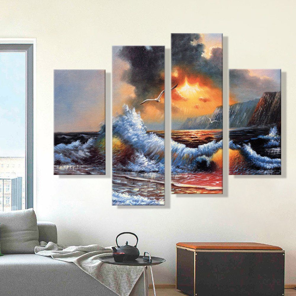 Oil Painting For Living Room Oil Painting Canvas Abstract Sea Wave Landscape Art Decoration