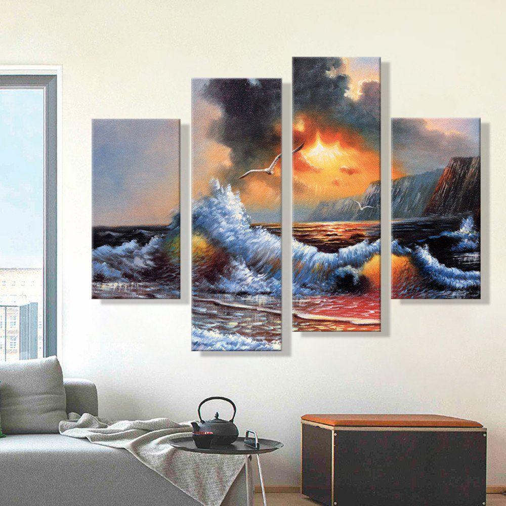 Living Room Artwork Decor Oil Painting Canvas Abstract Sea Wave Landscape Art Decoration