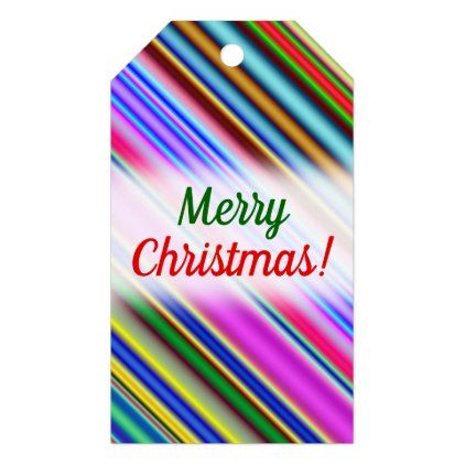 Vibrant & Eyecatching Multicolored Stripes Pattern Gift Tags