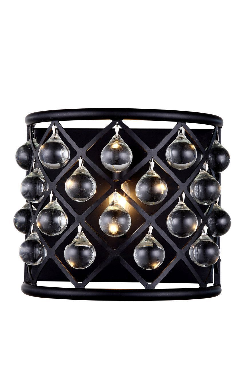 Madison 1 Light Crystal (Clear) Wall Sconce in Mocha Brown Finish 1213W11MB/RC