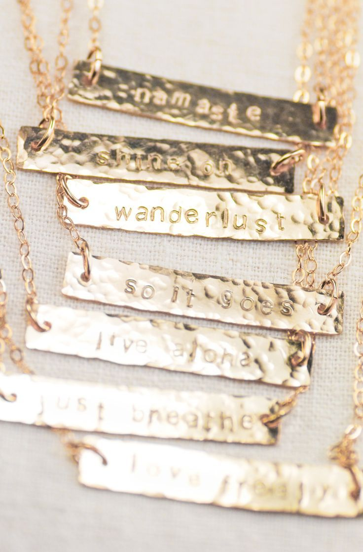 gold bar personalized wanderlust necklace