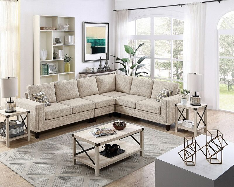 Oah D6994b 4 Pc Stephan Beige Cotton Blended Fabric Sectional Sofa Squared Arms Sectional Sofa Fabric Sectional Sofas Fabric Sectional