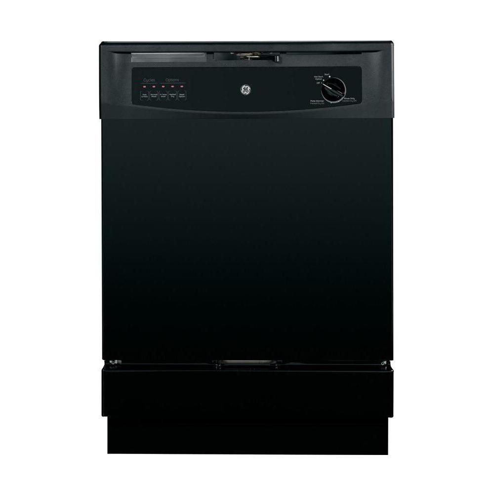 Ge Front Control Dishwasher In Black 62 Dba Dishwasher Black