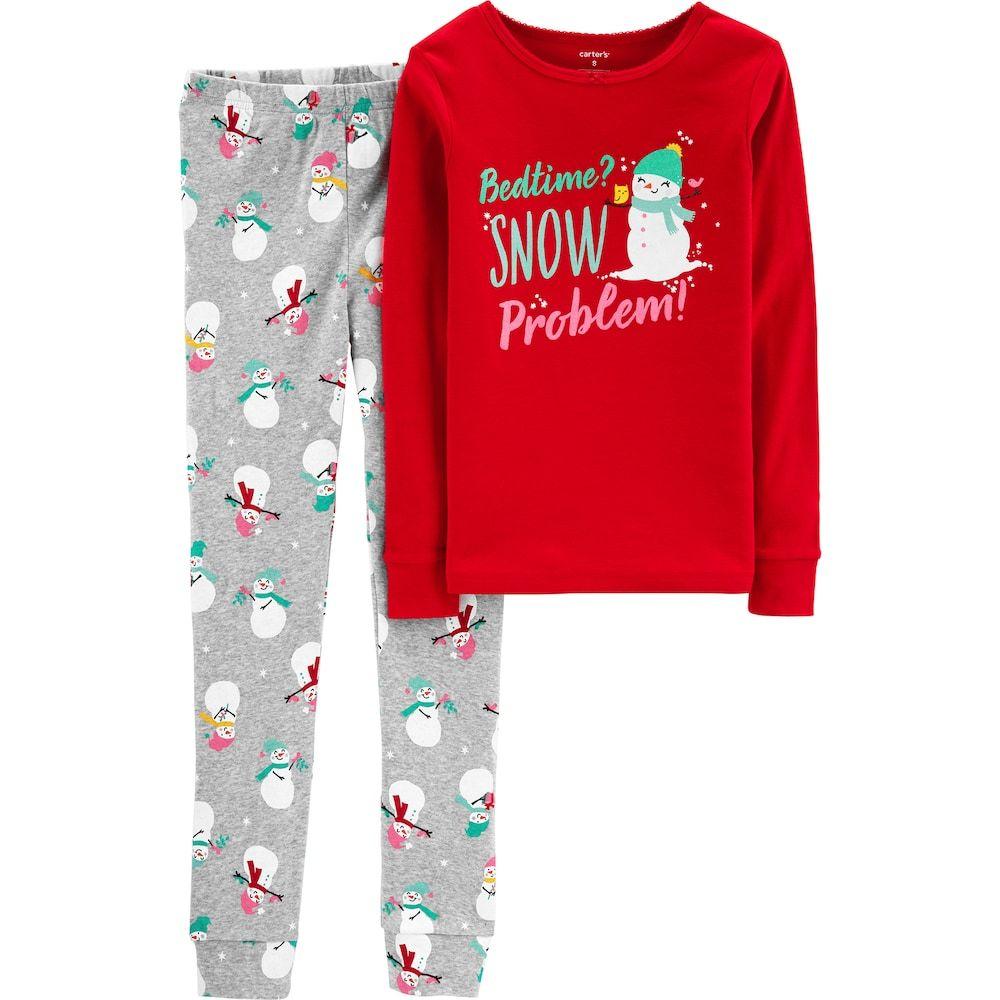 f43ec8e93ee1 Carter s Girls 4-14 Bedtime  Snow Problem Snowman Top   Bottoms ...