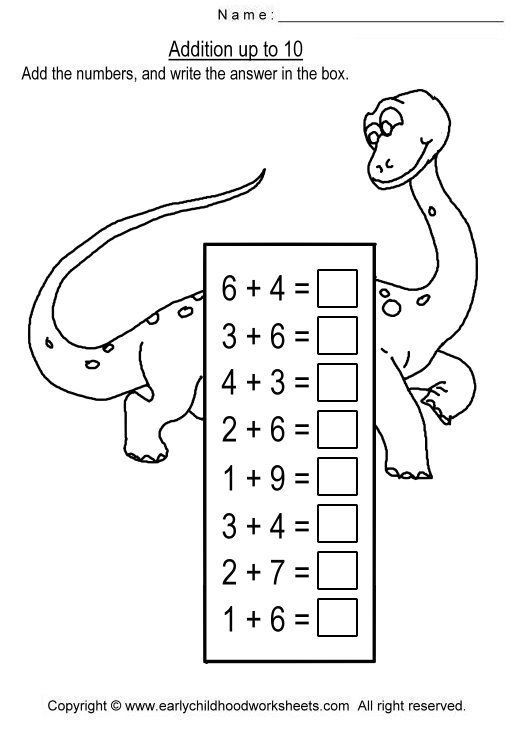 Image detail for -To print this worksheet, click Addition up to 10 ...