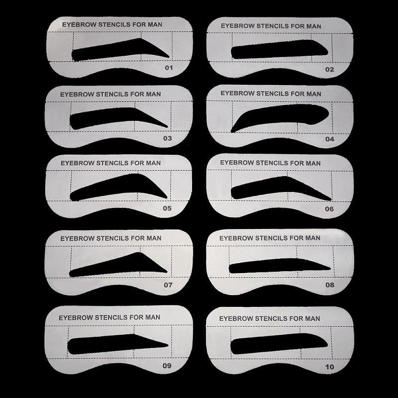 10pcs Men Eyebrow Card Drawing Guide Card Brow Template Eyes Makeup
