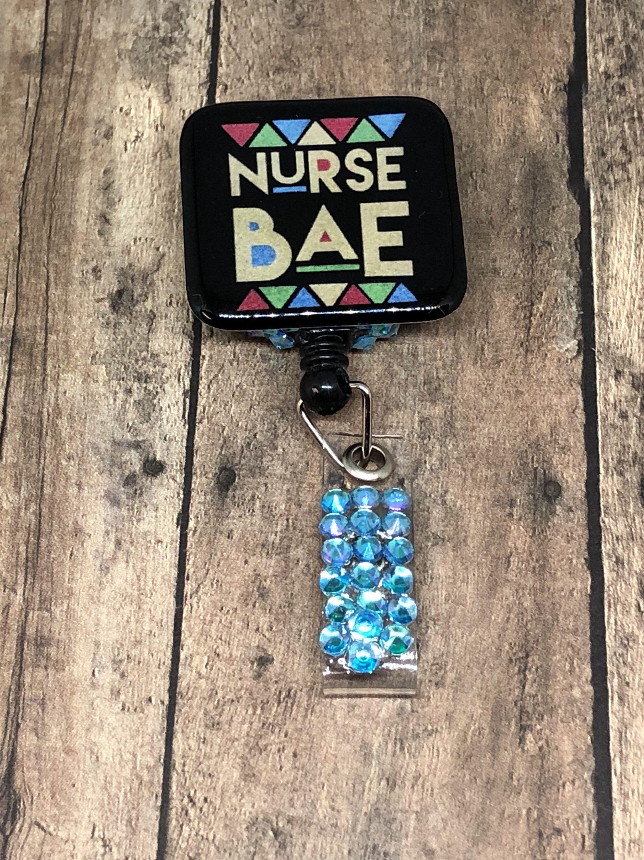 Nurse Bae ID Badge Reel - Retractable Badge Holder - Hospital Name