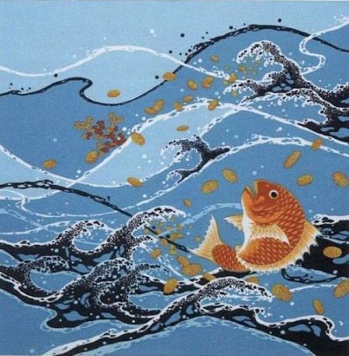 'Sea Bream in Stormy Seas' Motif Furoshiki Cotton Japanese Fabric 50cm