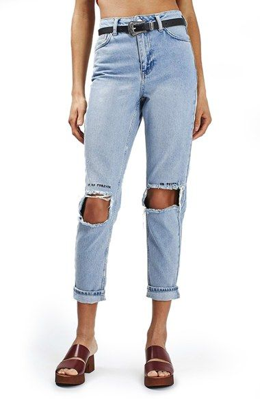 Free shipping and returns on Topshop Embroidered Ripped Mom Jeans at  Nordstrom.com. Square 87a0d4347e