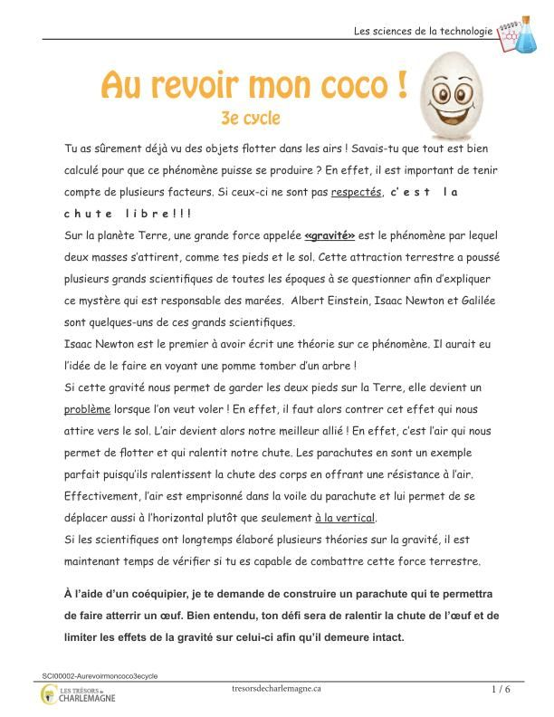 Au Revoir Mon Coco 3e Cycle Tresors De Charlemagne Science Word Search Puzzle Words