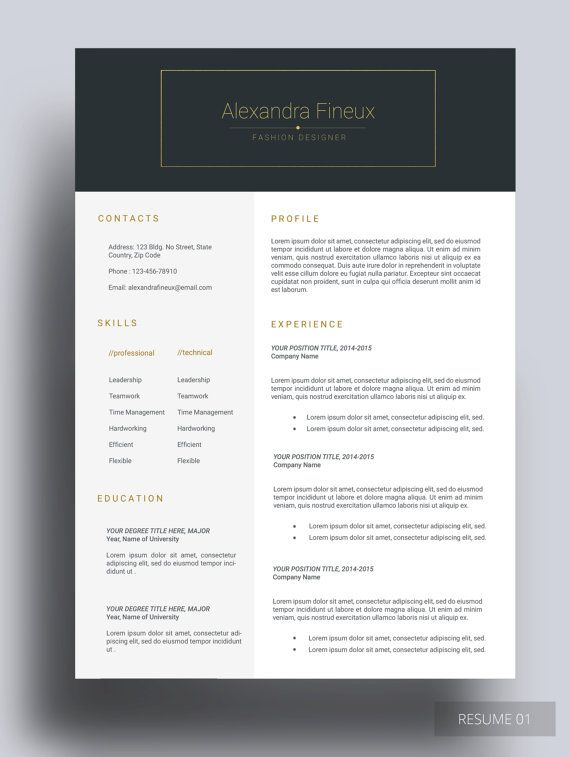 vontage resume gold is elegant  checkout vontage  a resume template that is fully customizable