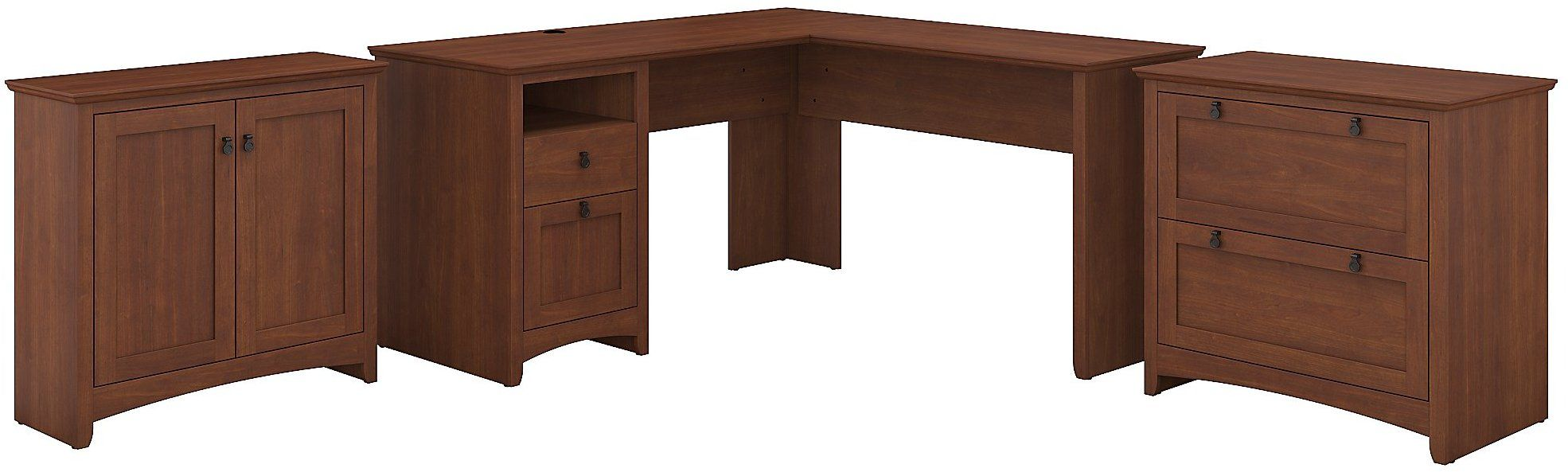 Light Cherry L Shaped Desk With Lateral File Cabinet And Storage