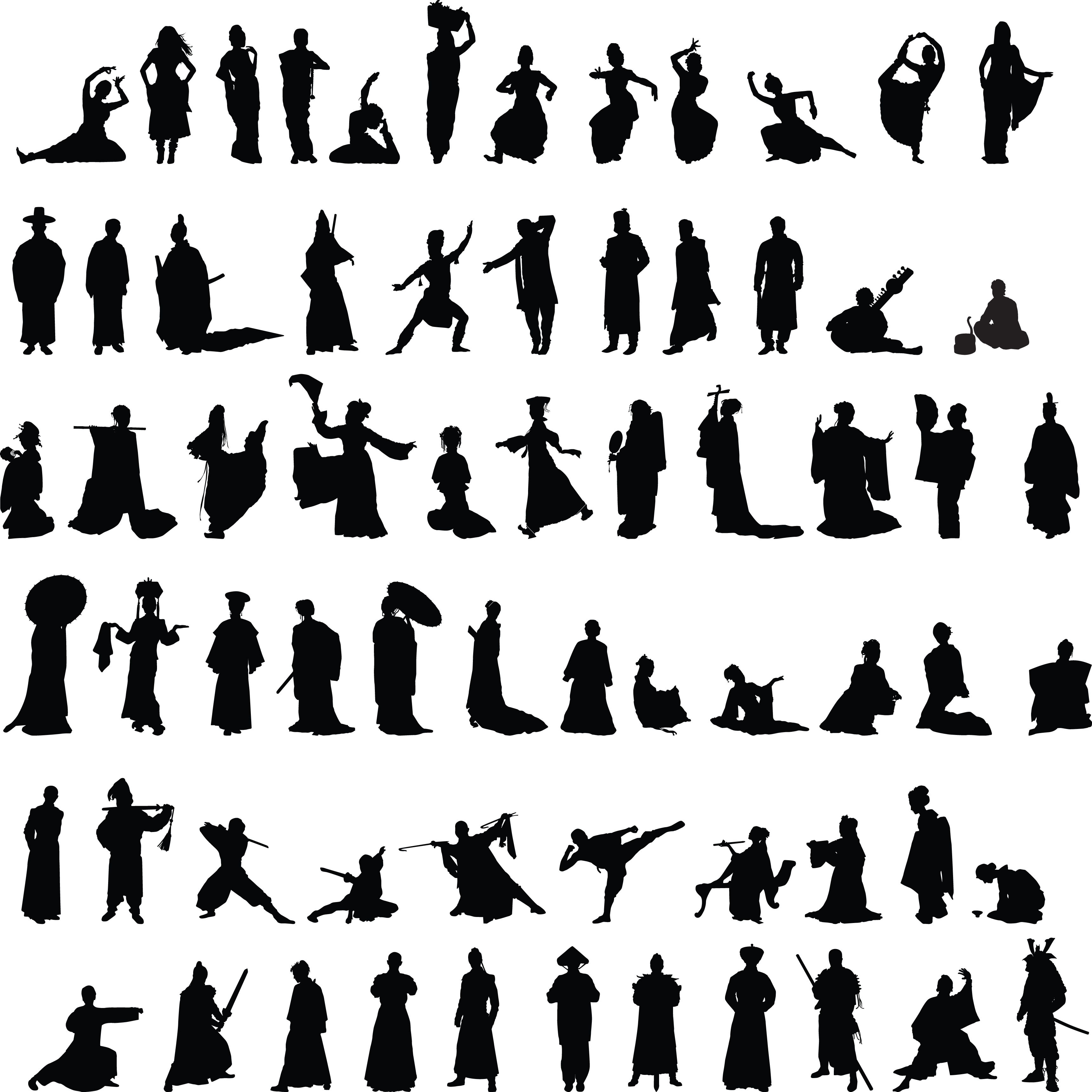 Asian Silhouettes Set Vector Image On