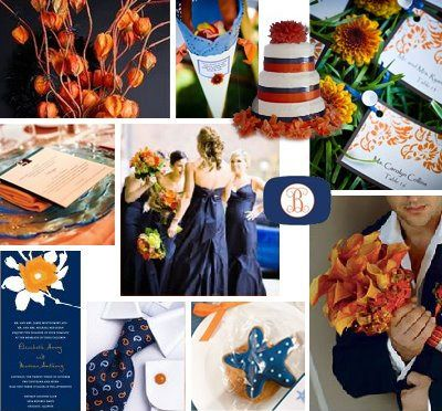 Brooke\'s Cream Orange & Navy Blue Wedding Bouquet Inspiration ...