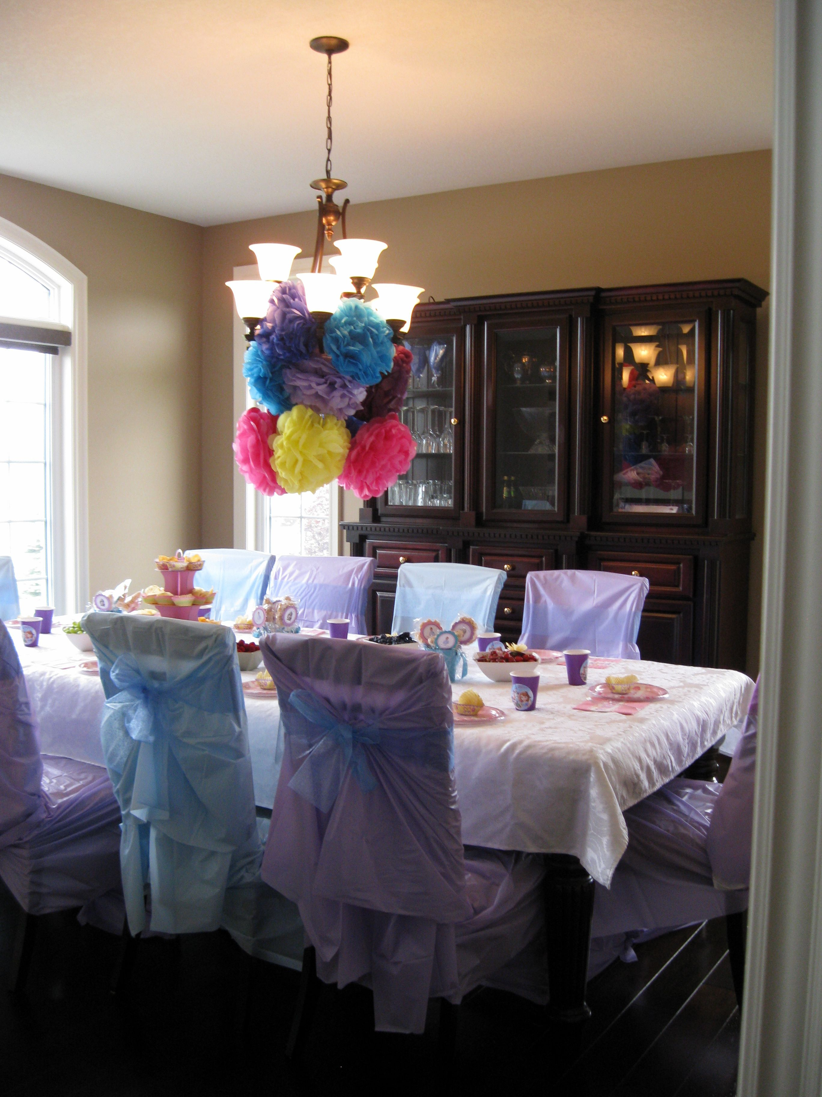 Sofia The First Birthay Party DIY Plastic Tablecloth Chair Covers With Bows!