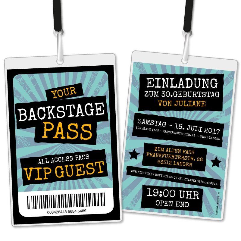 Einladungskarte Als Backstage Pass Vip Einladungskarten Geburtstag Einladungskarten Geburtstag
