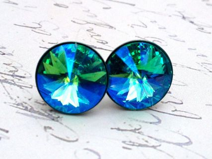 Turquoise Glacier Blue Swarovski Crystal Stud Earrings Featured At Pinklion This Pair