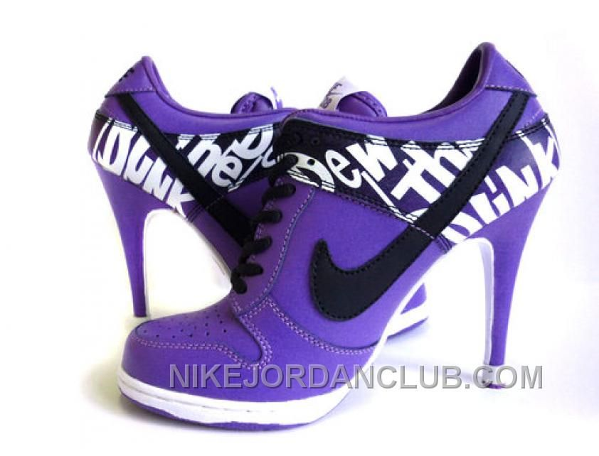 Discount Authentic Womens Nike Dunk High Heels Low Shoes Purple/Black/White