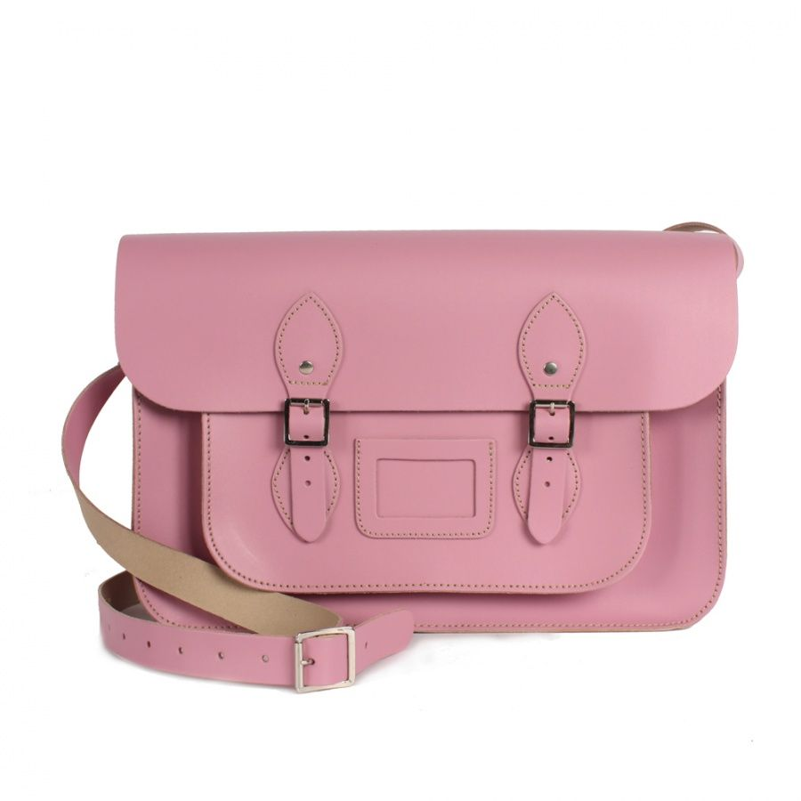 "Bohemia Leather Satchel, 14"" Vintage Pink"