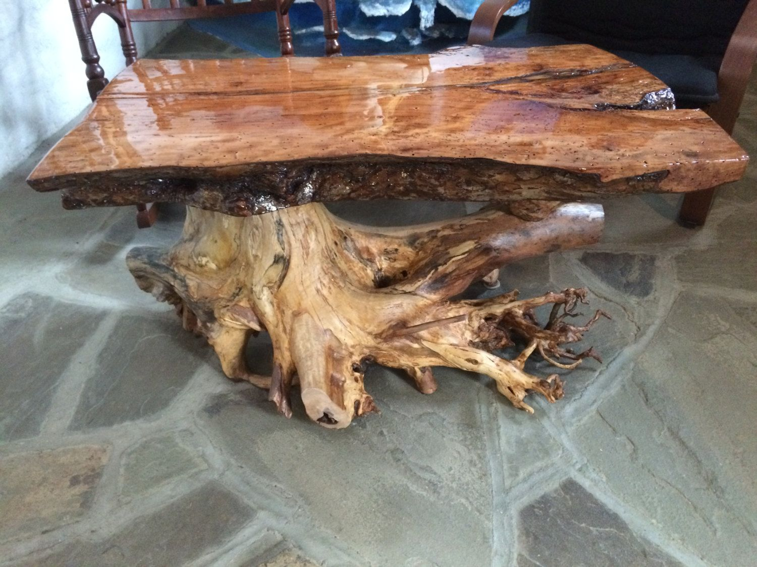 Hand Crafted Coffee Table Live Edge Old Growth Burl Slab Coffee Wood Glazed Epoxy Finish