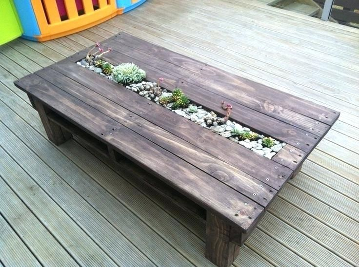 Outside Coffee Tables Amazing Recycled Pallet Tables With Planters