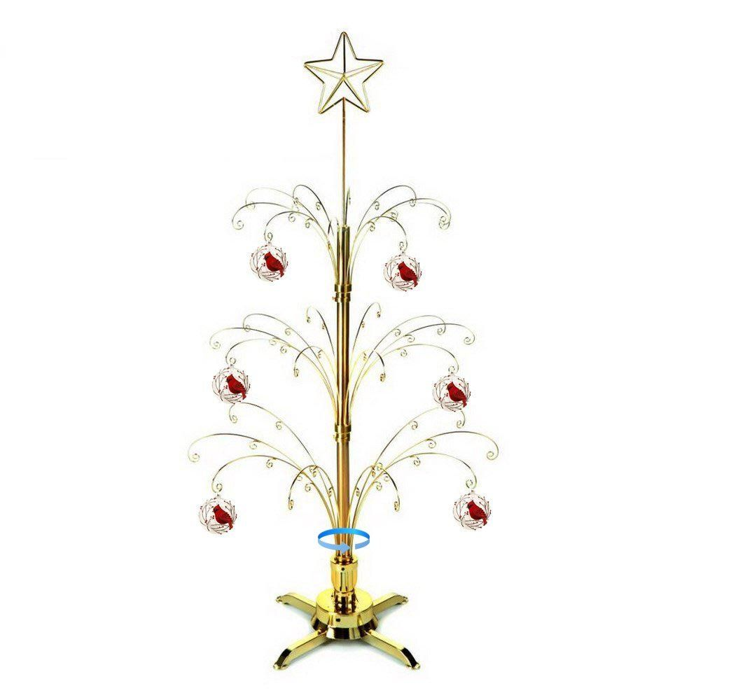 Hohiya Artificial Christmas Tree Rotating Metal Ornaments Stand Dog Cat Glass Ball 60 Hooks Hang Ornament Tree Display Artificial Christmas Tree Metal Ornament