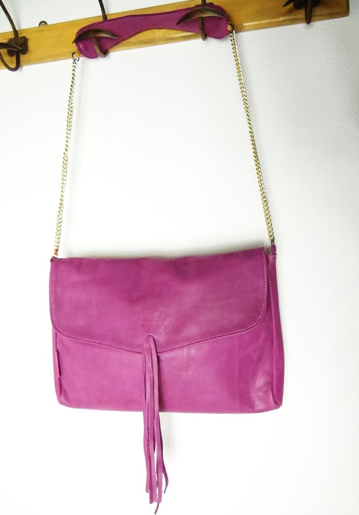 Sac en cuir, rose parme, en cuir, made In France, Pauline Pin.