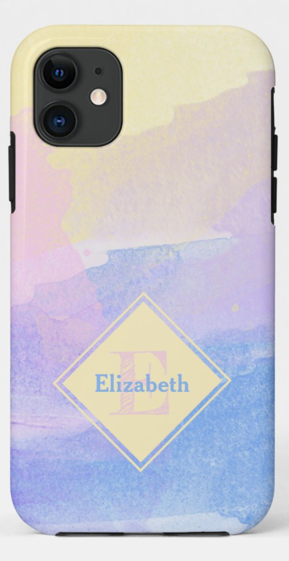 Girly Pastel Watercolor Monogram Custom Name Case-Mate iPhone Case Template This design is availabl